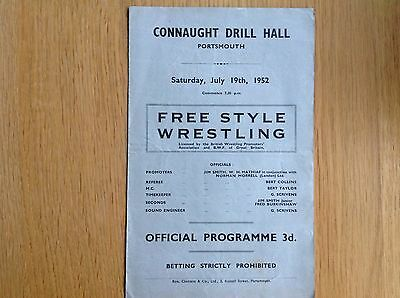1952 Portsmouth Wrestling Programme Shirley Crabtree