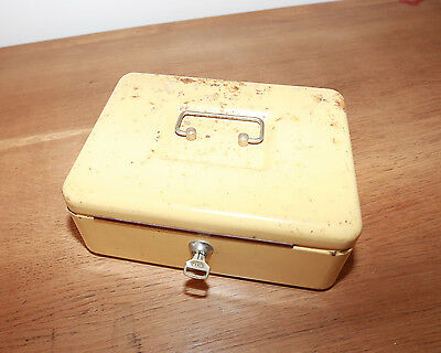 Cash Tin Money Box Vintage Collectable Antique  VERY HEAVY UNUSUAL PROP WITH KEY