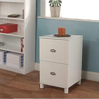 Wood File Cabinet 2 Drawer Filing Office Storage Home Furniture White Document