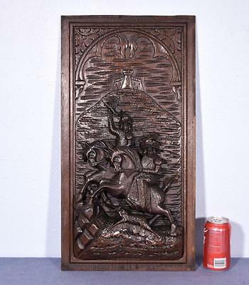 *Large French Antique Deeply Carved Hunting Architectural Panel Door Solid Oak