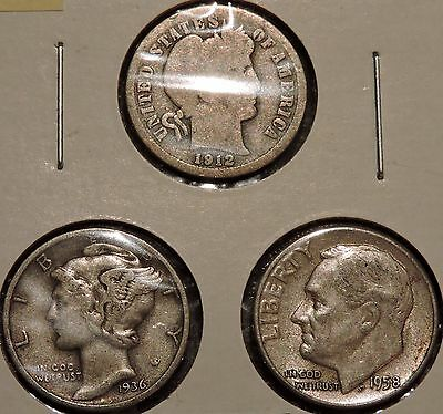 Silver Dimes - Type Set of 3 - 1912 / 1936 / 1958 - $1 Unlimited Shipping -Y69