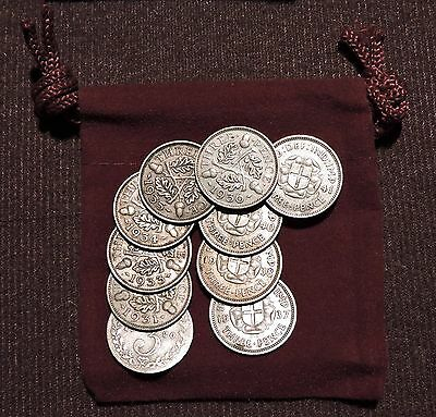 British Silver Threepence - Set of 10 Different - Gift Bag & Free Shipping -06