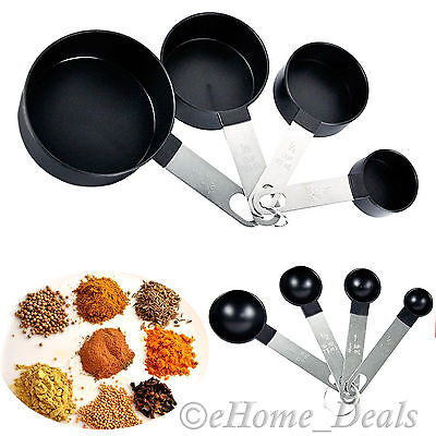8 Pc Polished Stainless Steel Measuring Cup Spoons Kitchen Baking Teaspoon Tools