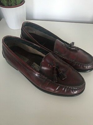 Vintage Bally OX blood red leather slip on tassel loafers shoes UK 8