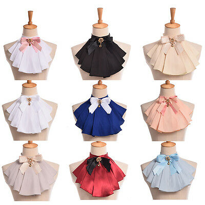 Women Jabot Neck With Bowknot Victorian Ruffle Collar Vintage Pins Punk Chiffon