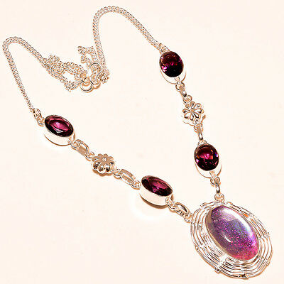 American Dicoglass With Amethyst 925  Sterling Silver Necklace 17-18""