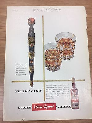 Rare 1955 GILBEY'S (Spey Royal) Scotch Whisky Large Colour Advert L3