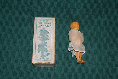 Antique Approx. 1900-1910 Merry Christmas Soap Baby Figurine In Original Box