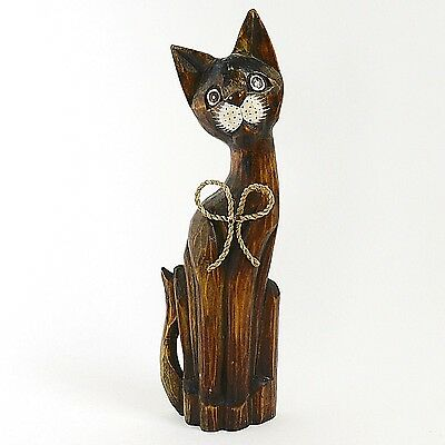 """Large Hand-Carved Wood Cat Sculpture from Indonesia 15 1/2"""" Tall!"""