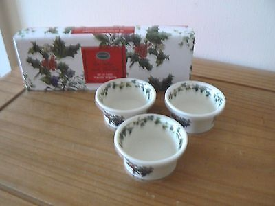 Set of 3  Portmeirion  The Holly & the Ivy  TEALIGHT HOLDERS -  New & BOXED