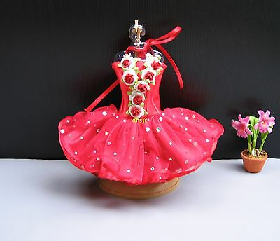 Ballerina Ballet Tutu Red Outfit Handmade Costumes for Dolls, Barbie Clothing