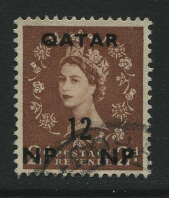 Qatar: 1957 12np surcharge on 2d light red-brown stamp SG5 Used - AF107