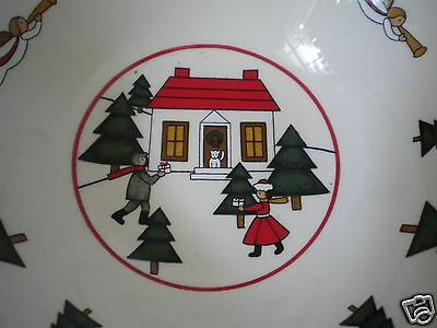 Masons Ironstone Christmas Village Bowl Made in England Angels Evergreen Trees