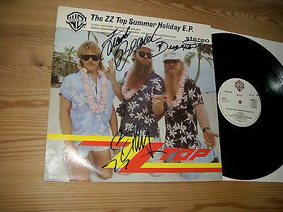 """ZZ TOP signed by Hill,Gibbons,Beard UK 12"""" Maxi SUMMER HOLIDAY EP"""