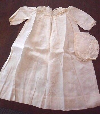 Fab Early Antique White Christening Gown & Cap