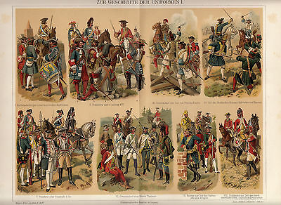 1910 Original Antique Plate Chromolithograph Meyers History of UNIFORMS COSTUMES