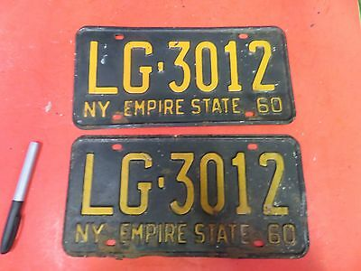Vintage Pair New York Empire State License Plate Lg 3012