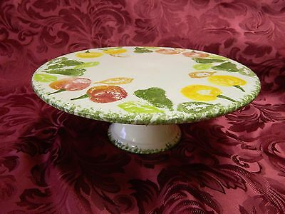 Large China  Pedestal Cake Stand Decorated With Fruits.