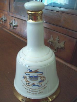 Vintage 1982 Bells Scotch Whiskey Decanter / Prince Williams Birth Commemorative
