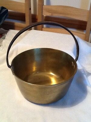 An Antique Brass Jam Pan With Wrought Iron Handle