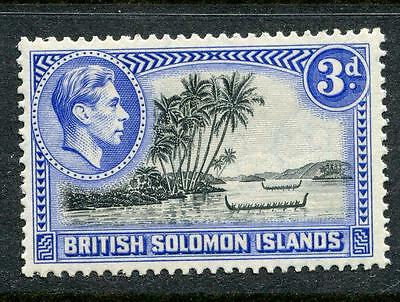 British Solomon Islands: 1939 George VI 3d stamp Perf 13.5  SG65 MNH LL104