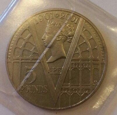 5 Pound Coin: 1901 2001 Crown Queen Victoria 100Th Anniversary Coin In Wallet