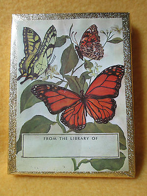 Vtg NIB Antioch Bookplate Company 50 BOOK PLATES with colorful BUTTERFLIES - New