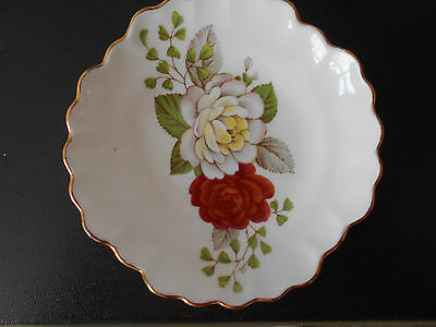 Adderley FLORAL bone china fluted pin tray - red and white roses design