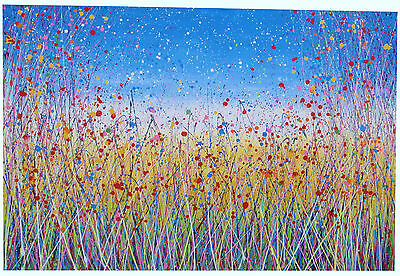 VERY LARGE MODERN ART LANDSCAPE PAINTING ON LOOSE CANVAS Yellow Meadow & Flowers