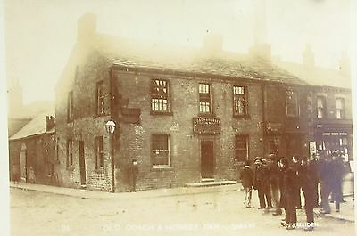 Crowd By Old Coach & Horses Inn Shaw Manchester Lancs Early Rp Pc