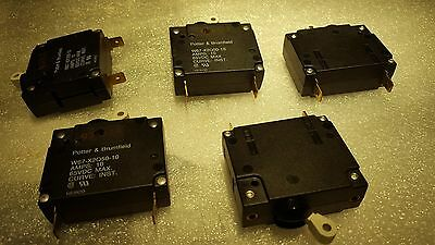 (5) W67-X2Q50-10 P&B Circuit Breaker Magnetic Hydraulic 1Pole 10A 65VDC NEW $49