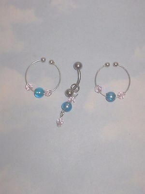 The  Fantastic   Bling  Non Piercing Nipple Rings & Pierced  Belly Barbell Set