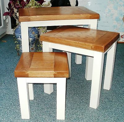 Clearance Sale Solid Oak top white painted leg nest of tables ONLY 4 LEFT!