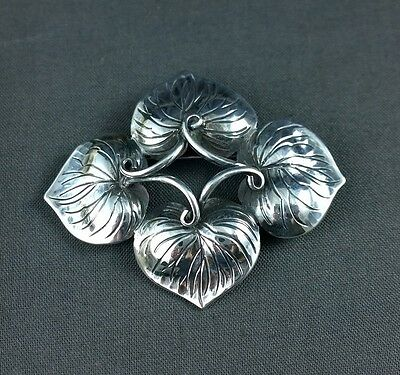 Vtg Sterling Silver Kalo Brooch Pin Hand Wrought Leaves 57 Chicago Arts & Crafts