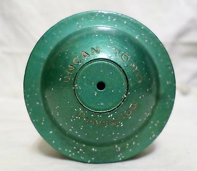 Vintage Wood Round Top Yoyo Green  With Glitter