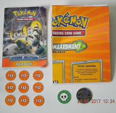 Pokemon TCG Bombardment Playmat, Rule Book, Custom Coin, Damage/Status Counters