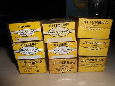 9 Vintage Fred Arbogast Jitterbug Empty Box's Various Colours Fishing Lure