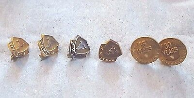 6 Vintage Firestone Tire Service Pins....14K Tops And 10K Gold Filled