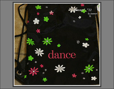 Daisy Dance Drawstring Backpack Daisy print with Dance Black Ballet bag