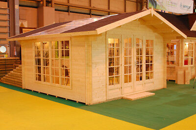 Solar Log Cabin 4 x 4m Summer House Garden Shed, Solar!
