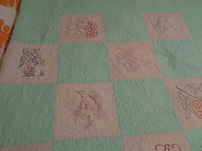 Linen Embroidered  Feed  Sack  Flowers  Spring Green Quilt
