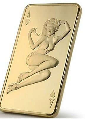 ".999 Gold (plated) clad bar. ""Ace of Hearts""."