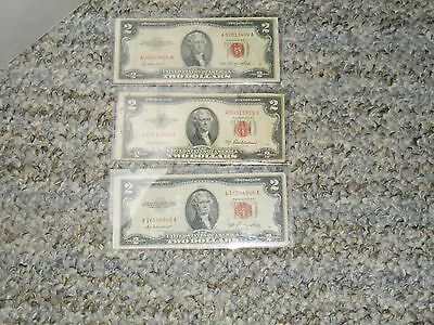 1 - 1953 A  2 - 1953 $2.00 Two Dollar Red Seal Legal Tender Notes