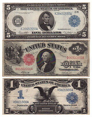 $1 Series 1899 Silver Certificate, $1 1917 US Note, $5 1914 Federal Reserve Note