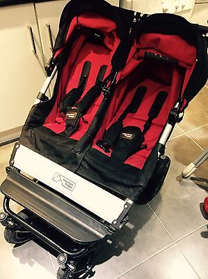 Mountain Buggy Duet Black/Red Pushchair Double Seat Stroller