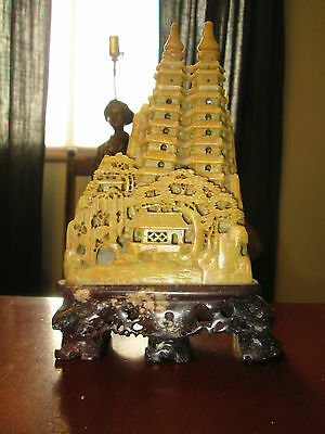 Vintage Chinese Soapstone Finely Carved Pagoda Trees 7 3/4""