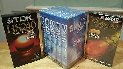 7 x E240 blank VHS video cassetes new & sealed TDK, BASF, sky lifetime guarantee