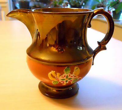 Fine Early 1800s English Copper Luster Pitcher, Rust Band, Relief Flowers.