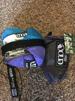 Eno Double Nest Hammock Purple Teal With Atlas Straps Brand New!!