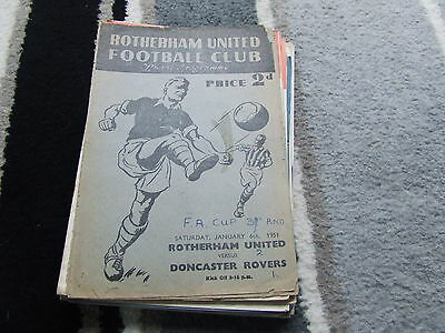 Rotherham United V Doncaster Rovers 1950-1 Fa Cup 3Rd Round ( See Details )